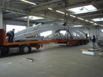 Přeprava konstrukce do GB - Cardiff (délka 19,7 m)